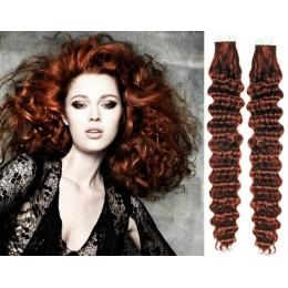 Kudrnaté vlasy pro metodu TapeX / Tape Hair / Tape IN 50cm - měděná