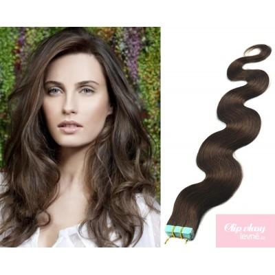 Vlnité vlasy pro metodu TapeX / Tape Hair / Tape IN 60cm - tmavě hnědé