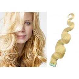 Vlnité vlasy pro metodu TapeX / Tape Hair / Tape IN 60cm - nejsvětlejší blond