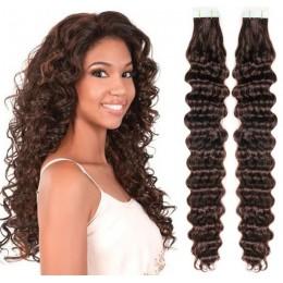 Kudrnaté vlasy pro metodu TapeX / Tape Hair / Tape IN 60cm - tmavě hnědé