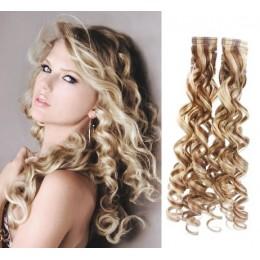 Kudrnaté vlasy pro metodu TapeX / Tape Hair / Tape IN 60cm - platina / světle hnědá
