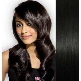Clip in vlasy 43cm 100% lidské - SUPER HUSTÉ 100g - černá