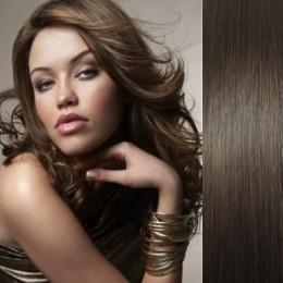Clip in vlasy 43cm 100% lidské - SUPER HUSTÉ 100g - tmavě hnědá