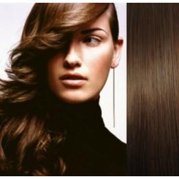 Clip in vlasy 43cm 100% lidské - SUPER HUSTÉ 100g - středně hnědá