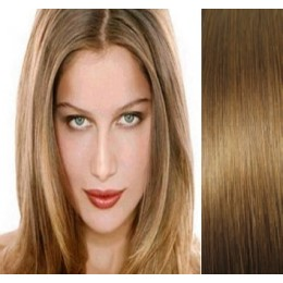 Clip in vlasy 43cm 100% lidské - SUPER HUSTÉ 100g - světle hnědá