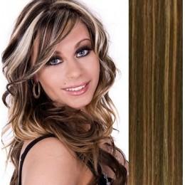Clip in vlasy 43cm 100% lidské - SUPER HUSTÉ 100g - tmavý melír