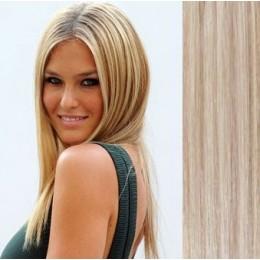 Clip in vlasy 43cm 100% lidské - SUPER HUSTÉ 100g - platina/světle hnědá