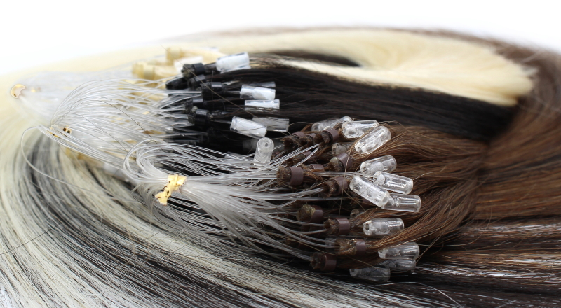 Micro ring lidské vlasy detail