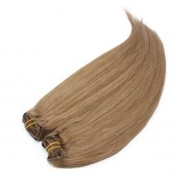 Clip in maxi set 63cm pravé lidské vlasy – REMY 240g – SVĚTLE HNĚDÁ