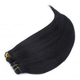 Clip in maxi set 43cm pravé lidské vlasy - REMY 140g - černá