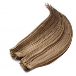 Clip in maxi set 43cm pravé lidské vlasy - REMY 140g - tmavý melír