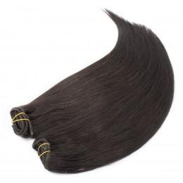 Clip in maxi set 53cm pravé lidské vlasy – REMY 200g – PŘÍRODNÍ ČERNÁ