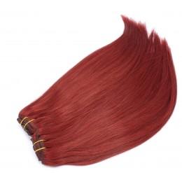 Clip in maxi set 43cm pravé lidské vlasy - REMY 140g - měděná