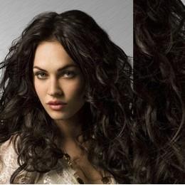 Clip in vlnité vlasy pravé lidské REMY 53cm - přírodní černá