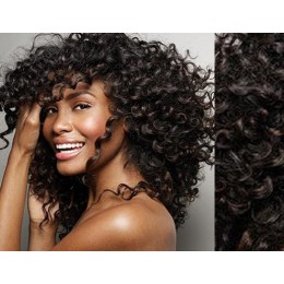 Clip in kudrnaté vlasy 100% lidské REMY 53cm - přírodní černá