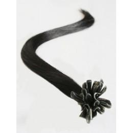 Vlasy evropského typu k prodlužování keratinem 40cm - přírodní černá