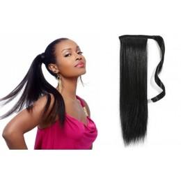 Clip in příčesek culík/cop 100% lidské vlasy 50cm - černý
