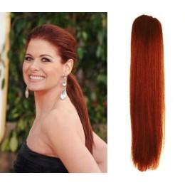 Clip in příčesek culík/cop 100% lidské vlasy 60cm - měděná