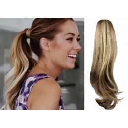 Clip in vlnitý příčesek/culík/cop 100% lidské vlasy 50cm - světlý melír