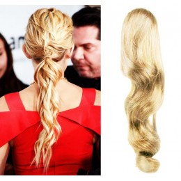 Clip in příčesek culík/cop 100% lidské vlasy 60cm vlnitý - nejsvětlejší blond