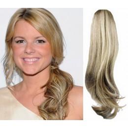 Clip in příčesek culík/cop 100% lidské vlasy 60cm vlnitý - platina/světle hnědá