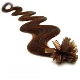 Vlnité vlasy k prodlužování keratinem 60cm - středně hnědé