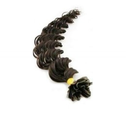 Kudrnaté vlasy k prodlužování keratinem 60cm - přírodní černé