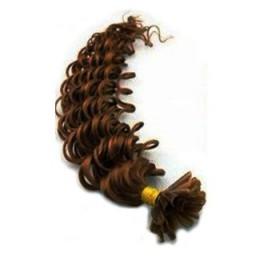 Kudrnaté vlasy k prodlužování keratinem 60cm - středně hnědé