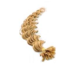 Kudrnaté vlasy k prodlužování keratinem 60cm - přírodní blond