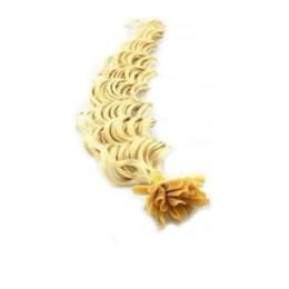 Kudrnaté vlasy k prodlužování keratinem 60cm - nejsvětlejší blond