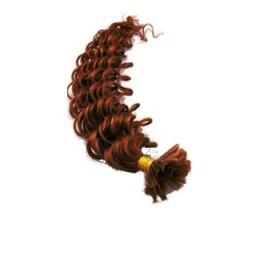 Kudrnaté vlasy k prodlužování keratinem 60cm - měděná