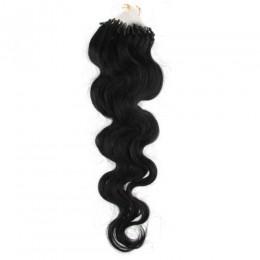 Vlnité vlasy pro metodu Micro Ring / Easy Loop 50cm – černé