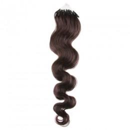 Vlnité vlasy pro metodu Micro Ring / Easy Loop 50cm – tmavě hnědé