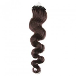 Vlnité vlasy pro metodu Micro Ring / Easy Loop 60cm – tmavě hnědé