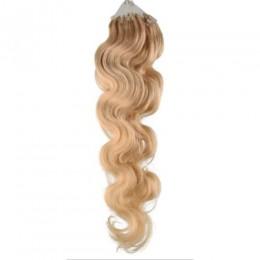 Vlnité vlasy pro metodu Micro Ring / Easy Loop 60cm – přírodní blond