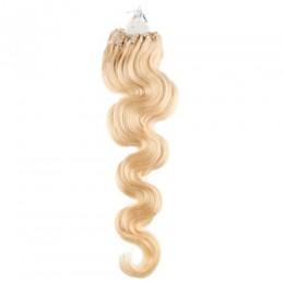 Vlnité vlasy pro metodu Micro Ring / Easy Loop 60cm – nejsvětlejší blond