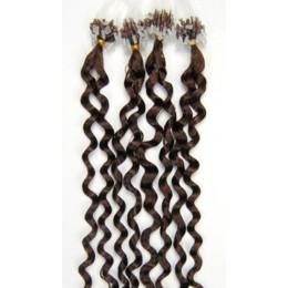 Kudrnaté vlasy pro metodu Micro Ring / Easy Loop 60cm – středně hnědé