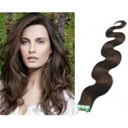 Vlnité vlasy pro metodu TapeX / Tape Hair / Tape IN 50cm - tmavě hnědé