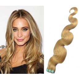 Vlnité vlasy pro metodu TapeX / Tape Hair / Tape IN 50cm - přírodní blond