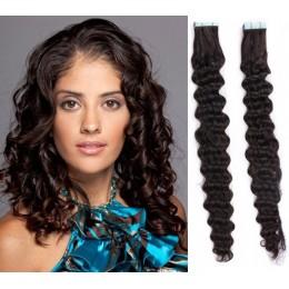 Kudrnaté vlasy pro metodu TapeX / Tape Hair / Tape IN 50cm - přírodní černé