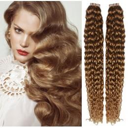 Kudrnaté vlasy pro metodu TapeX / Tape Hair / Tape IN 50cm - světle hnědé
