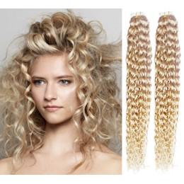 Kudrnaté vlasy pro metodu TapeX / Tape Hair / Tape IN 50cm - platina