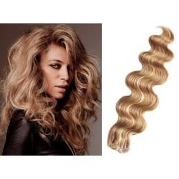 Vlnité vlasy pro metodu TapeX / Tape Hair / Tape IN 60cm - přírodní / světlejší blond