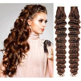 Kudrnaté vlasy pro metodu TapeX / Tape Hair / Tape IN 60cm - středně hnědé