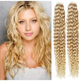 Kudrnaté vlasy pro metodu TapeX / Tape Hair / Tape IN 60cm - nejsvětlejší blond