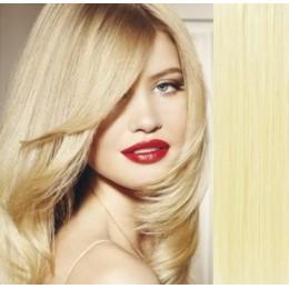 Clip in vlasy 43cm 100% lidské - SUPER HUSTÉ 100g - nejsvětlejší blond