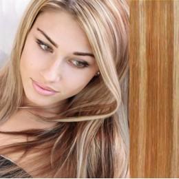 Clip in vlasy 43cm 100% lidské - SUPER HUSTÉ 100g - světlý melír