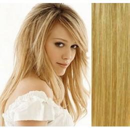 Clip in vlasy 43cm 100% lidské - SUPER HUSTÉ 100g - přírodní/světlejší blond