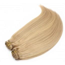 Clip in maxi set 53cm pravé lidské vlasy – REMY 200g – PŘÍRODNÍ/SVĚTLEJŠÍ BLOND