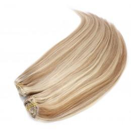 Clip in maxi set 53cm pravé lidské vlasy – REMY 200g – SVĚTLÝ MELÍR